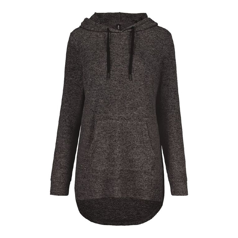 H&H Brushed Knit Hooded Top, Charcoal/Marle, hi-res
