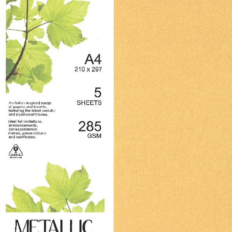 Direct Paper Metallic Board 285gsm 5 Pack Gold A4, , hi-res