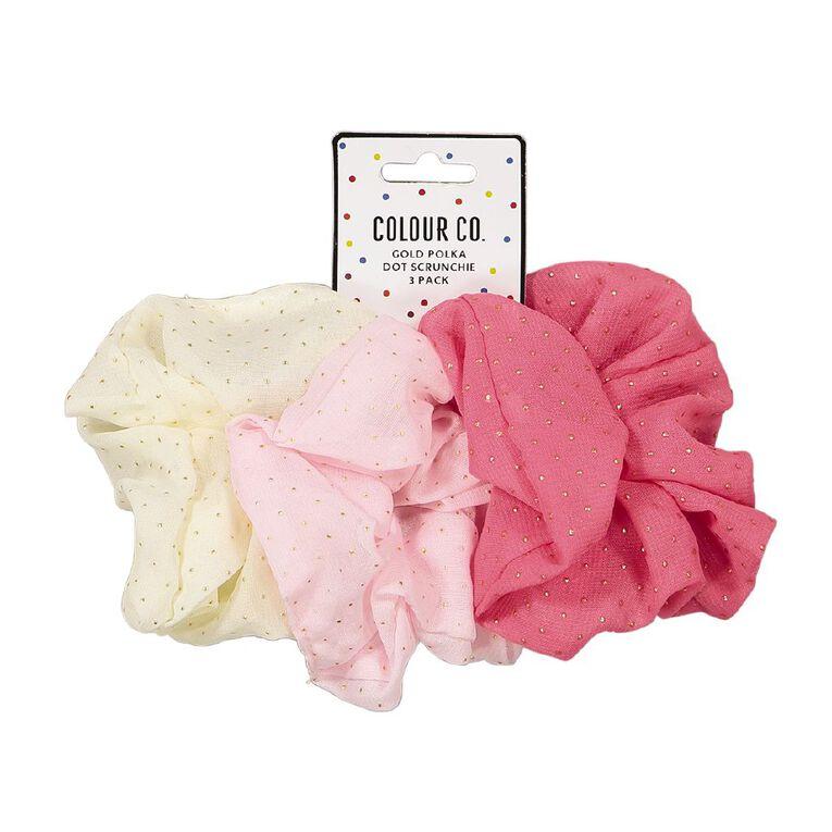 Colour Co. Gold Polka Dot Scrunchie 3 Pack, , hi-res