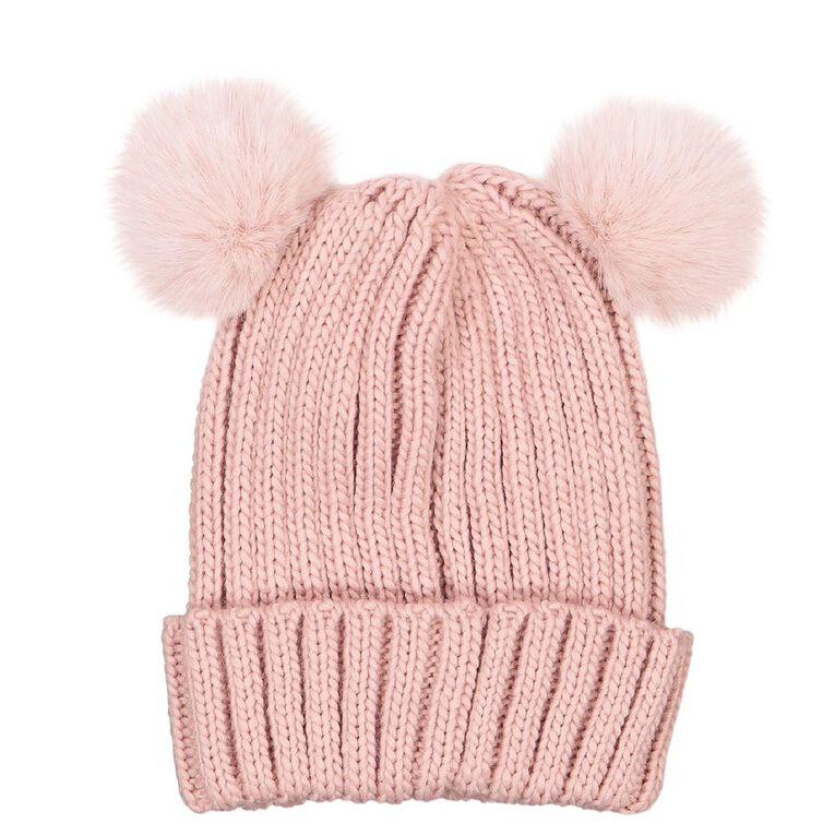 Young Original Girls' Pom Pom Beanie, Pink, hi-res image number null