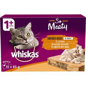Whiskas So Meaty Chicken Chicken&Duck Chicken& Beef In Gravy15x85g
