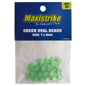 Maxistrike Beads Green Oval 7mm x 10mm 20 Pack