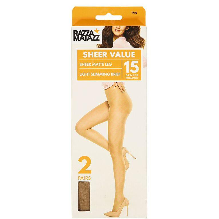 Razzamatazz Light Slimming Briefs 15D 2 Pack, Tan, hi-res