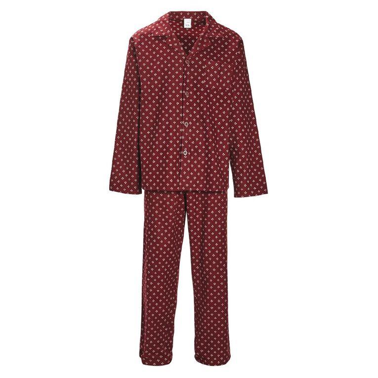 H&H Men's Flannelette Pyjama Set, Burgundy, hi-res