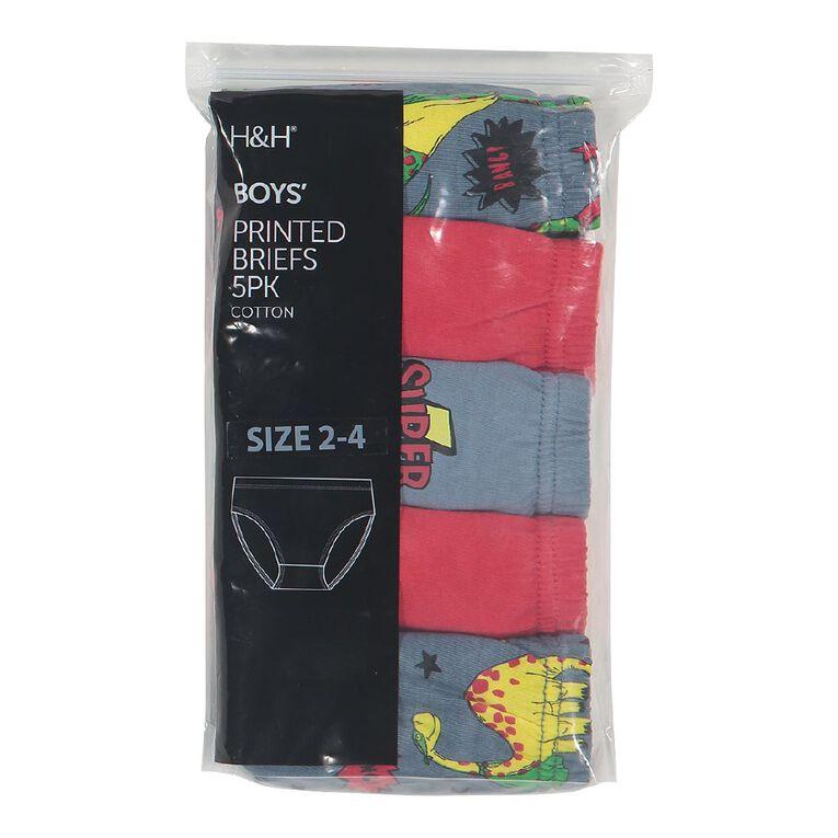 H&H Briefs 5 Pack, Red, hi-res