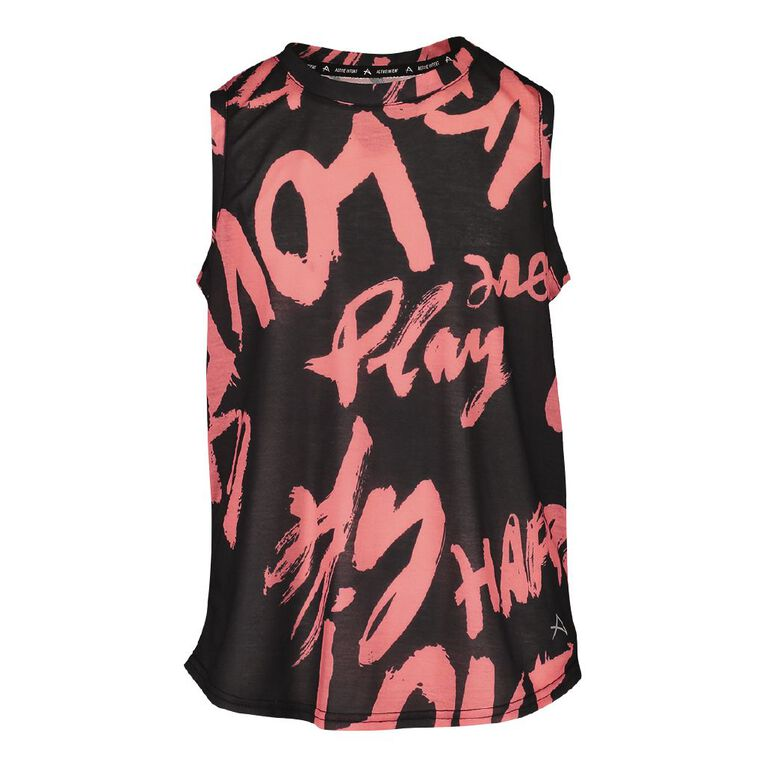 Active Intent Girls' Muscle Tank Top, Grey Dark, hi-res image number null