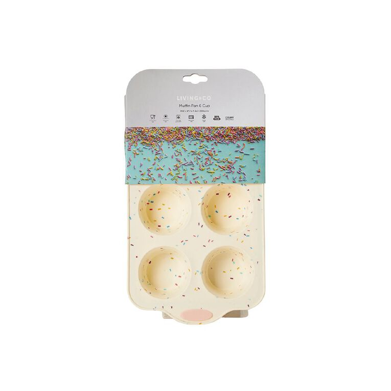 Living & Co Silicone 100's & 1000's Muffin Pan Multi-Coloured 6 Cup, , hi-res image number null