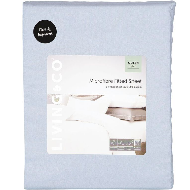 Living & Co Sheet Fitted Microfibre Blue Single, Blue, hi-res