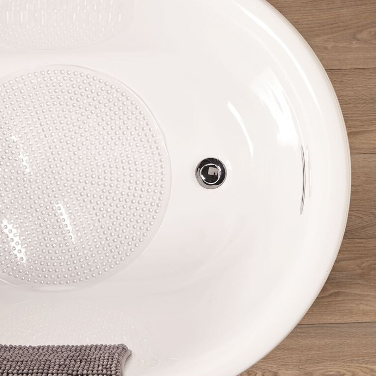 Living & Co Bath Mat Round Clear 50cm, Clear, hi-res image number null