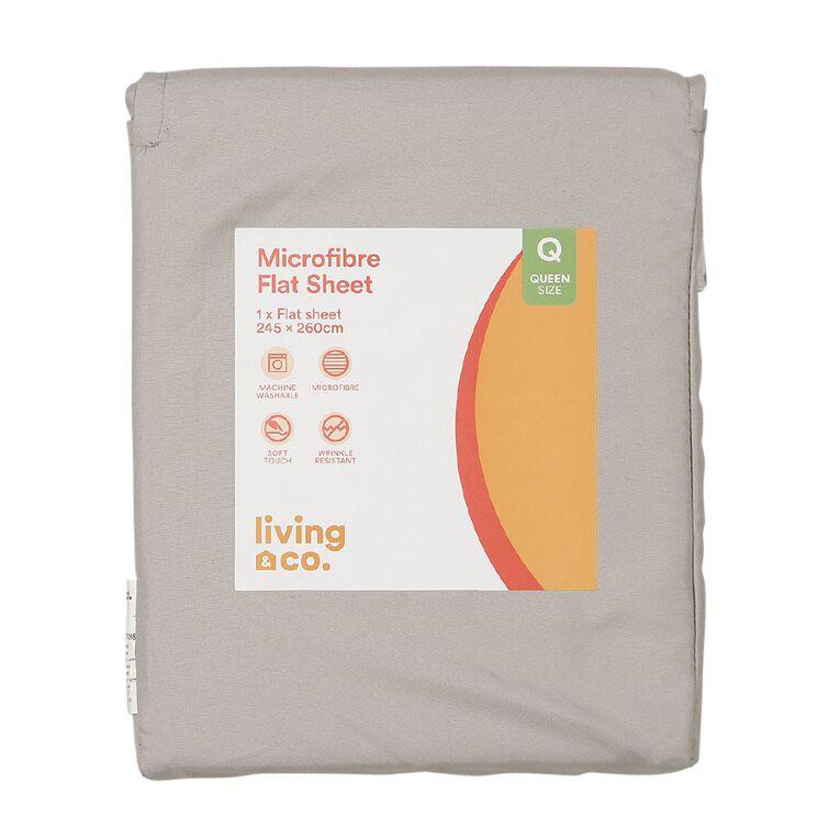 Living & Co Sheet Flat Microfibre Grey Single, Grey, hi-res