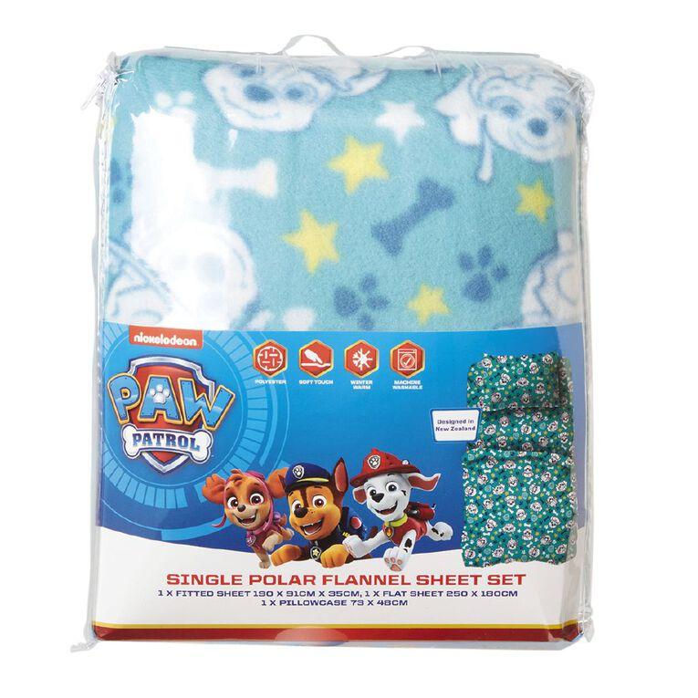 Paw Patrol Polar Flannel Sheet Set Aqua King Single, Aqua, hi-res