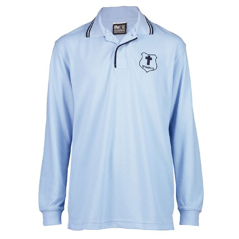 Schooltex St Mary's Hastings Long Sleeve Polo with Embroidery, Blue/Navy, hi-res