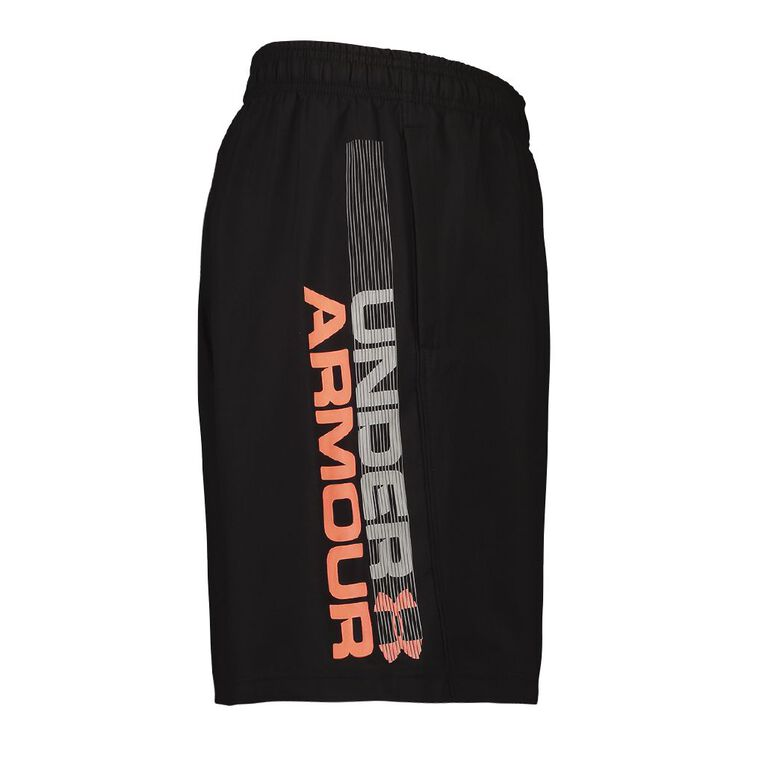 Under Armour Men's Woven Graphic Shorts, Black/Red, hi-res