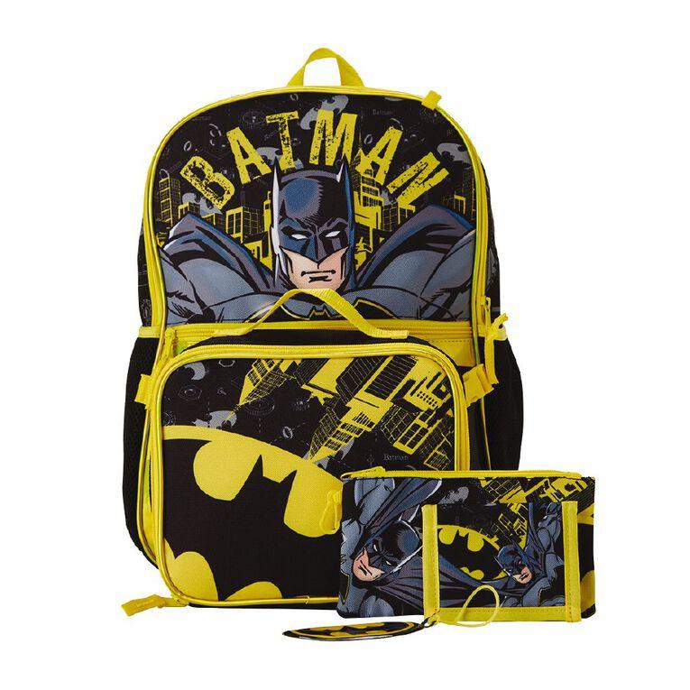 Batman Backpack Five Piece Set, Black, hi-res