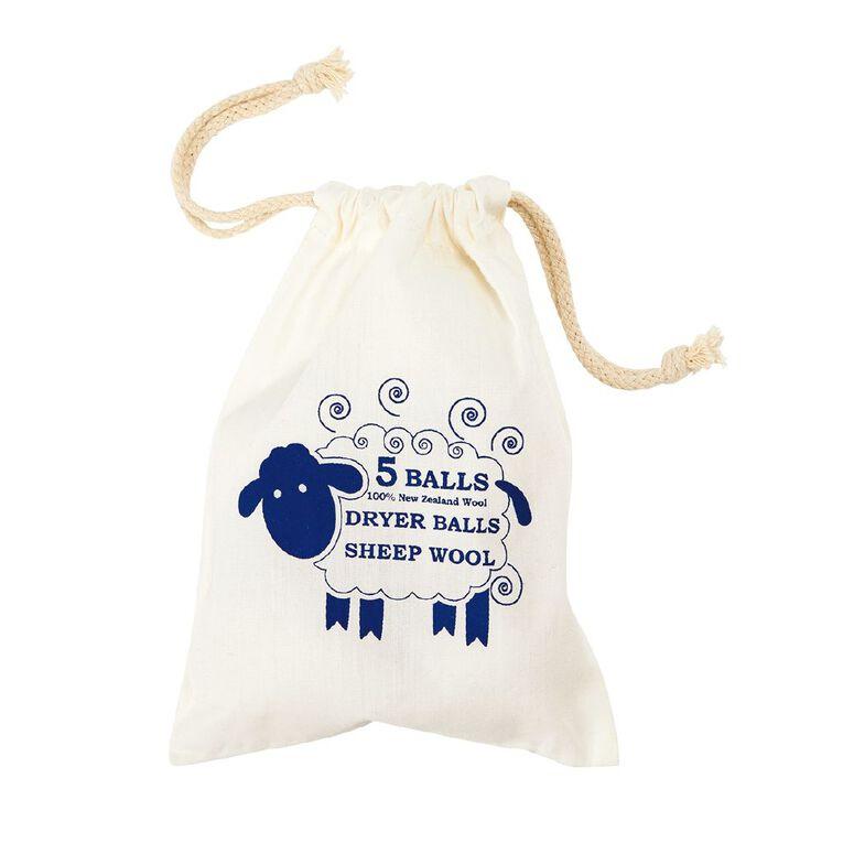Living & Co Wool Dryer Ball 6cm Natural 5 Pack, , hi-res