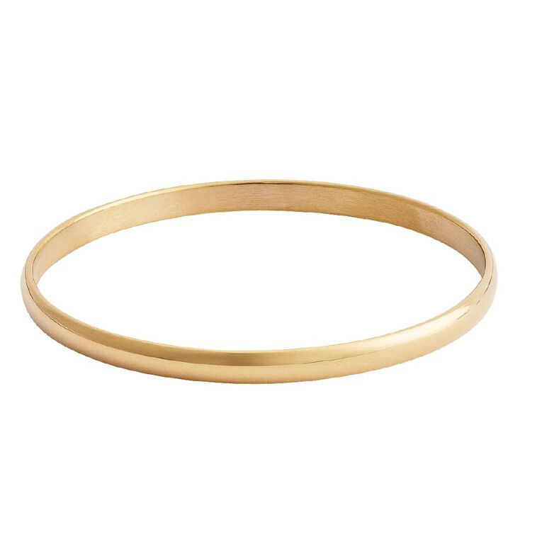 Stainless Steel D Shaped Gold Colour Bangle, Stainless Steel, hi-res
