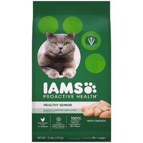 Iams Proactive Health Senior Dry Cat Food with Chicken 1.59kg Bag