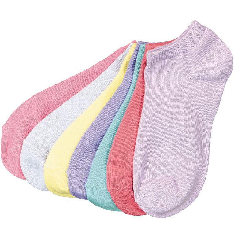 H&H Girls' Liner Socks 7 Pack, Multi-Coloured, hi-res