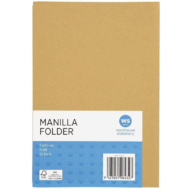 WS Manilla Folders Foolscap Kraft 10 Pack, , hi-res