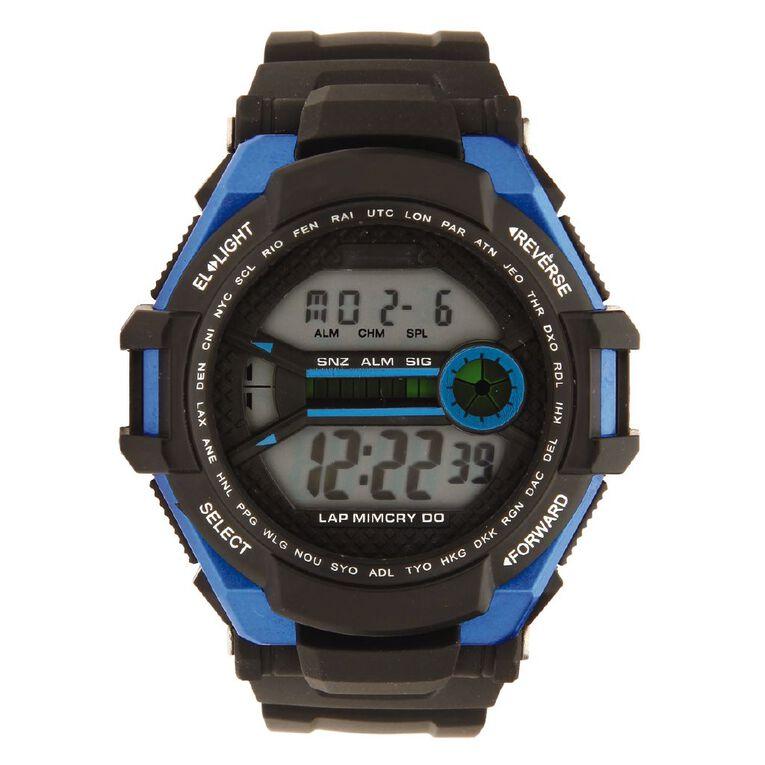 Active Intent Men's Sports Digital Watch Black Blue, , hi-res