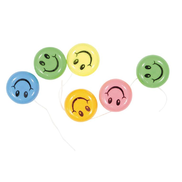 Party Inc Party Favours Smiley Face YoYo 6 Pack, , hi-res