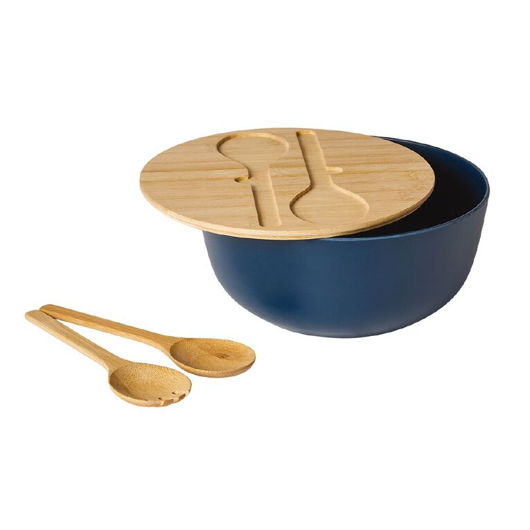 Living & Co Salad Bowl With Lid And Servers Blue Dark, , hi-res