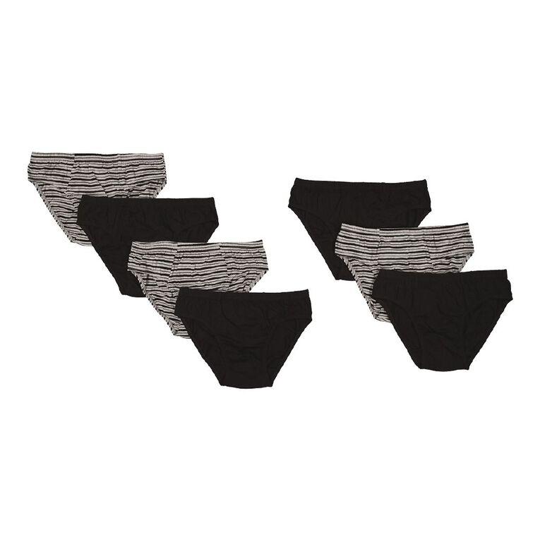 H&H Men's Briefs Stripe 7 Pack, Black, hi-res
