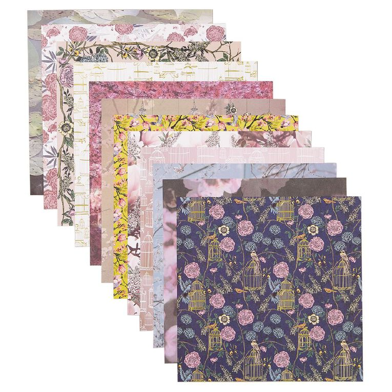 Uniti Oriental Floral Paper Pad 12 Sheets 12in x 12in, , hi-res