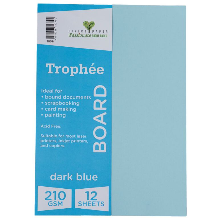 Trophee Board 210gsm 12 Pack Blue Dark A4, , hi-res