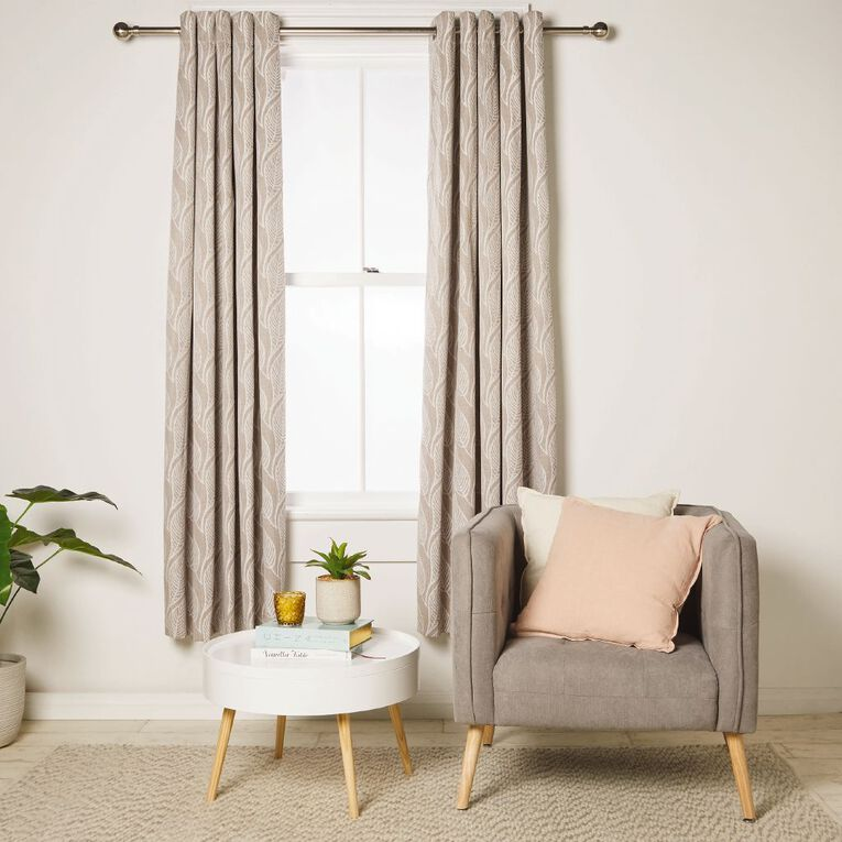 Living & Co Milford Eyelet Curtain Natural 150-230cm Wide/205cm Drop, Natural, hi-res