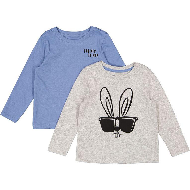 Young Original Toddler 2 Pack Long Sleeve Tees, Grey Mid BUNNY, hi-res