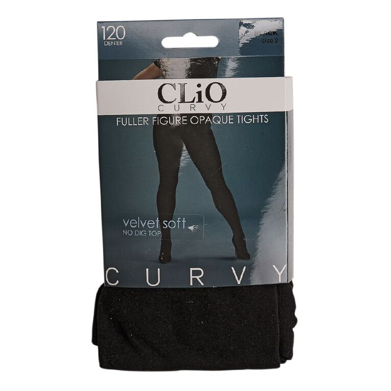 Clio Curvy Opaque Velvet Pantyhose 120 Denier 1 Pack, Black, hi-res