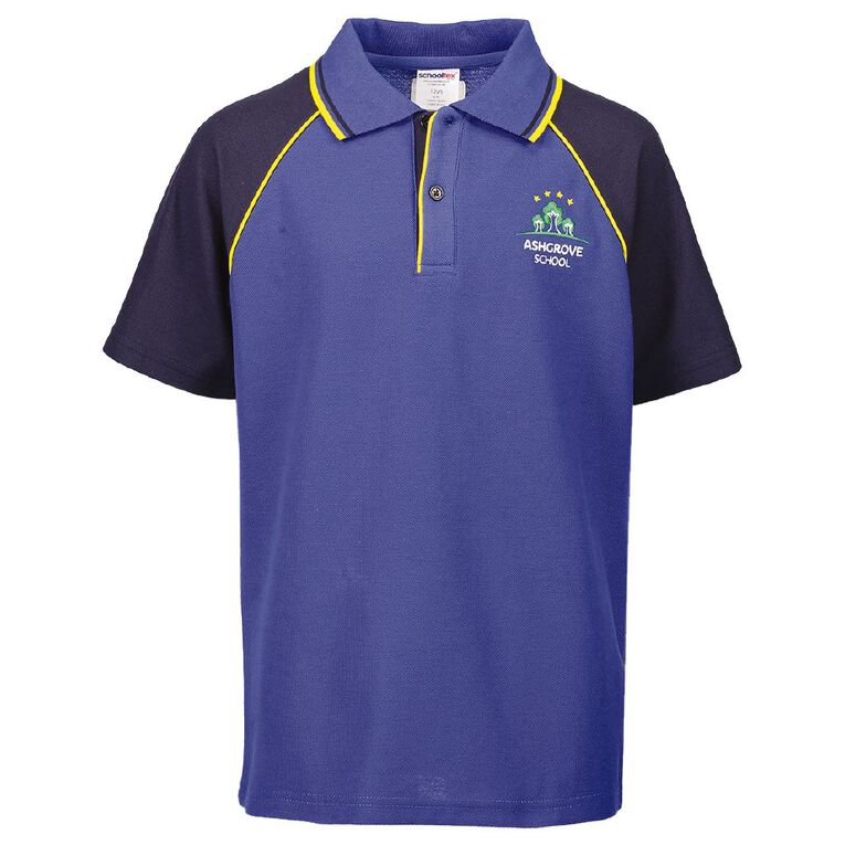 Schooltex Ashgrove Short Sleeve Polo with Embroidery, Royal/Navy, hi-res