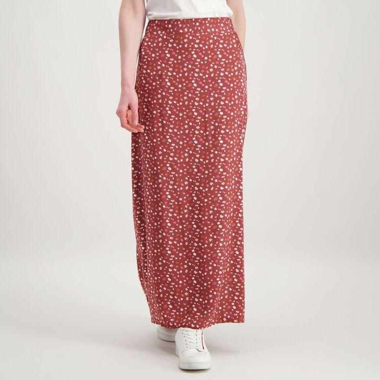 H&H Women's Split Midi Skirt, Red Mid, hi-res