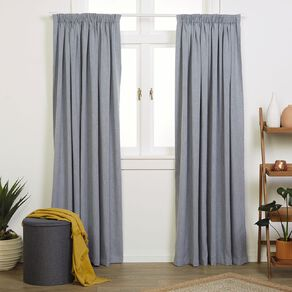 Living & Co Jasper Curtains Denim 230-330cm Wide/205cm Drop