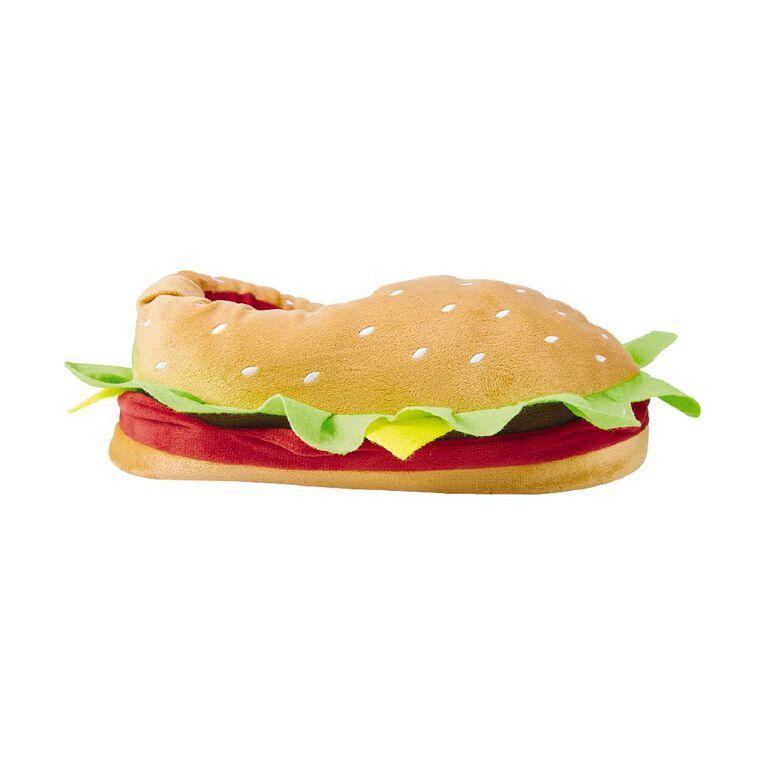 H&H Men's Hamburger Slippers, Brown, hi-res image number null