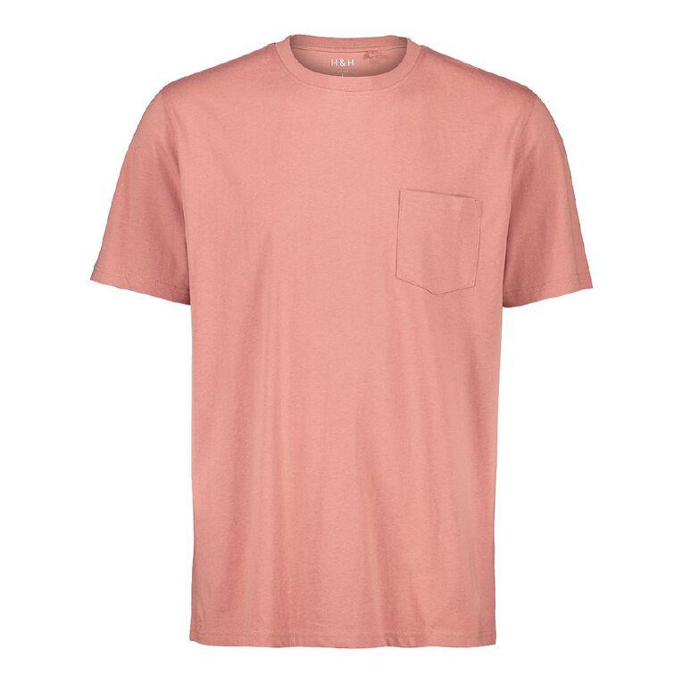 H&H Men's Crew Neck Short Sleeve Pocket Tee, Pink Light, hi-res