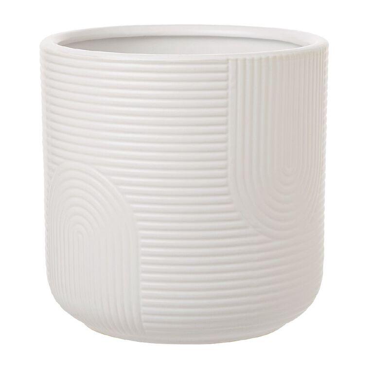 Kiwi Garden Patterned Ceramic Pot White 18cm, , hi-res