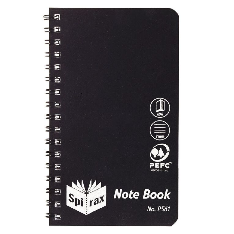 Spirax P561 Notebook Black 147mm X 87mm 96 Page, , hi-res
