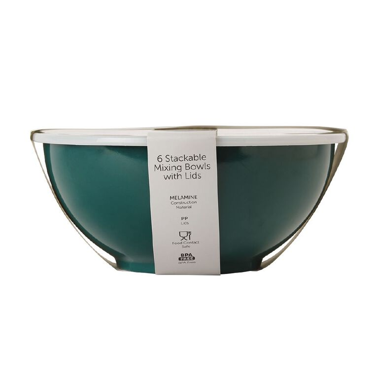 Living & Co Melamine Mixing Bowl Set Green Dark 6 Pack, , hi-res