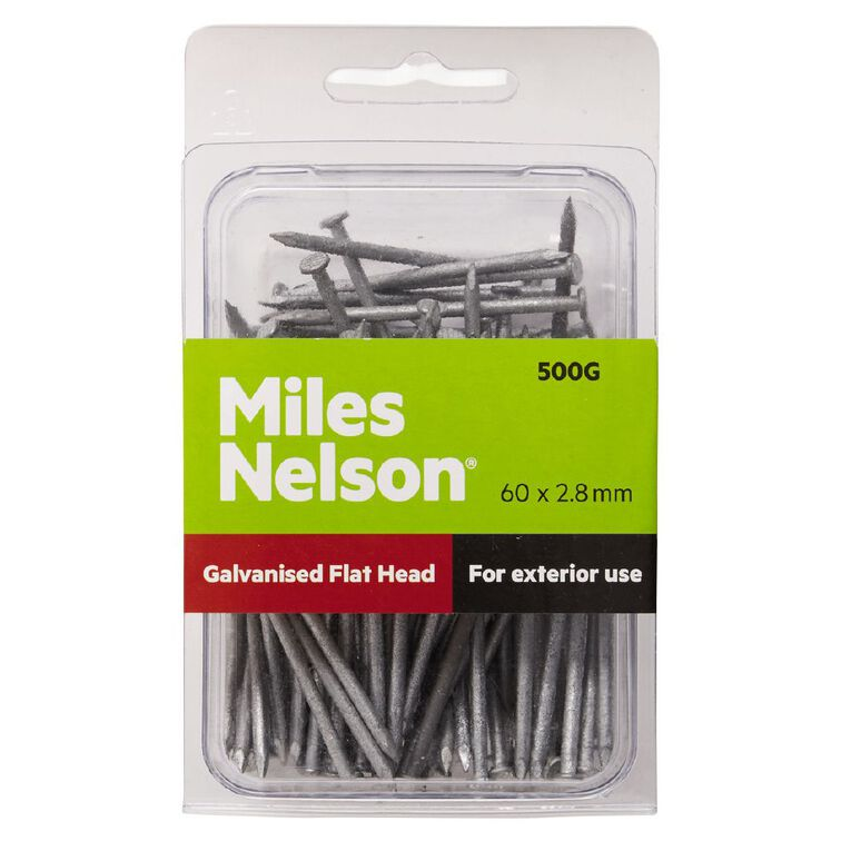 Miles Nelson Galvanised Flat Head Nails 60mm x 2.80mm, , hi-res