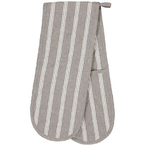 Living & Co Double Oven Glove Country Stripe Charcoal 90cm x 17cm