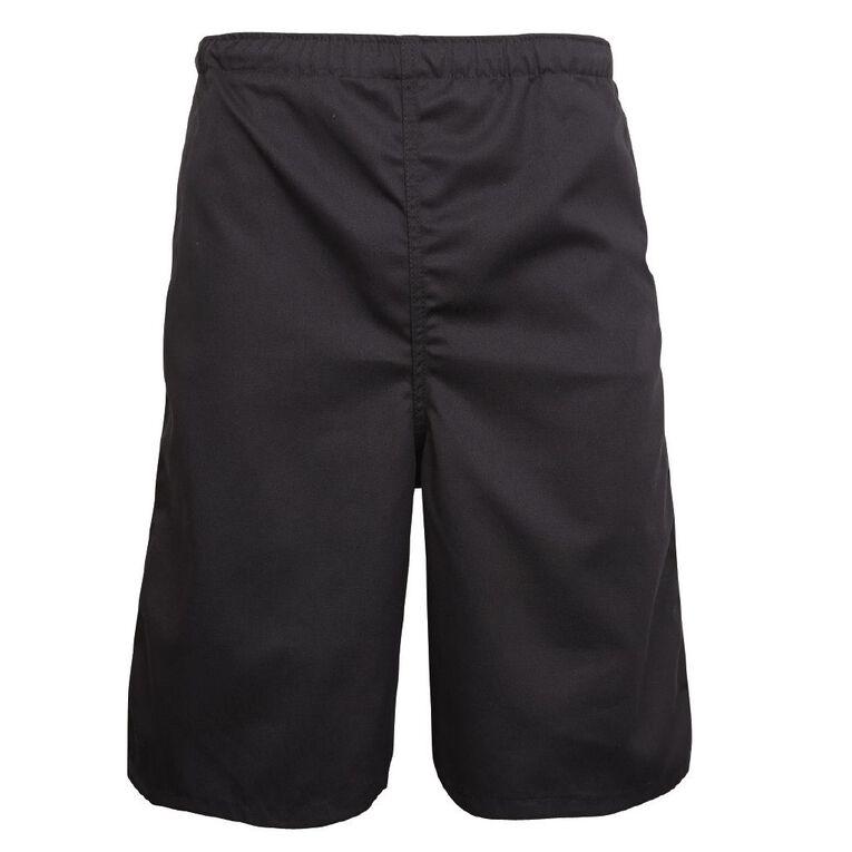 Schooltex Adults' Drill Long Leg Rugger Shorts, Black, hi-res