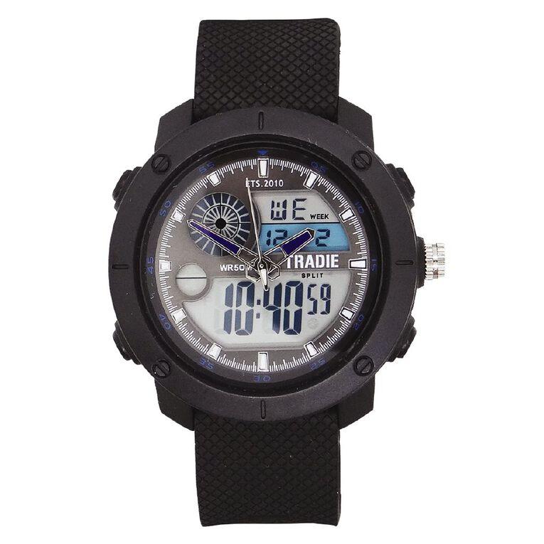 Tradie Analogue/Digital Black 5ATM Water Resist Alarm Stopwatch Light, , hi-res