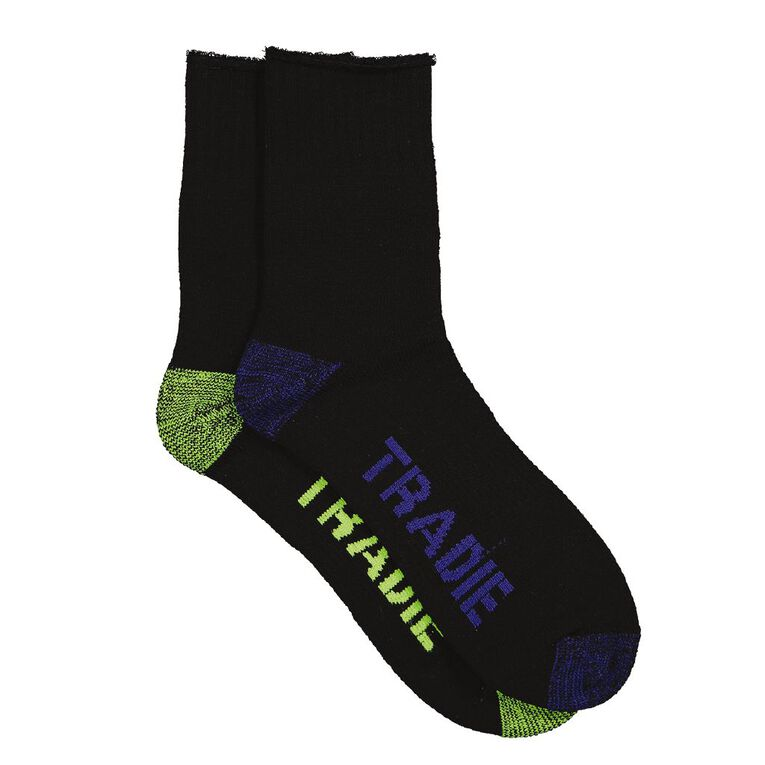 Tradie Men's Quarter Crew Work Socks 2 Pack, Black/Blue, hi-res