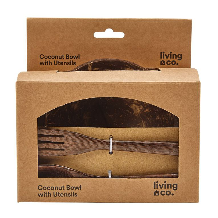 Living & Co Coconut Bowl With Utensils Natural, , hi-res