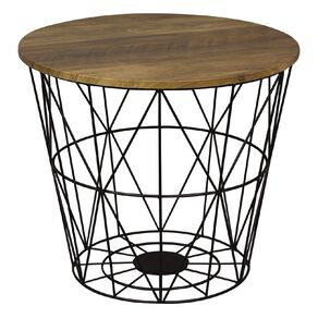 Living & Co Wire Side Table Wood Look Black