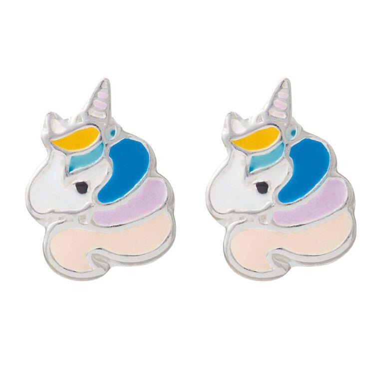 KIDZ Sterling Silver Enamel Unicorn Kids' Stud Earrings, , hi-res