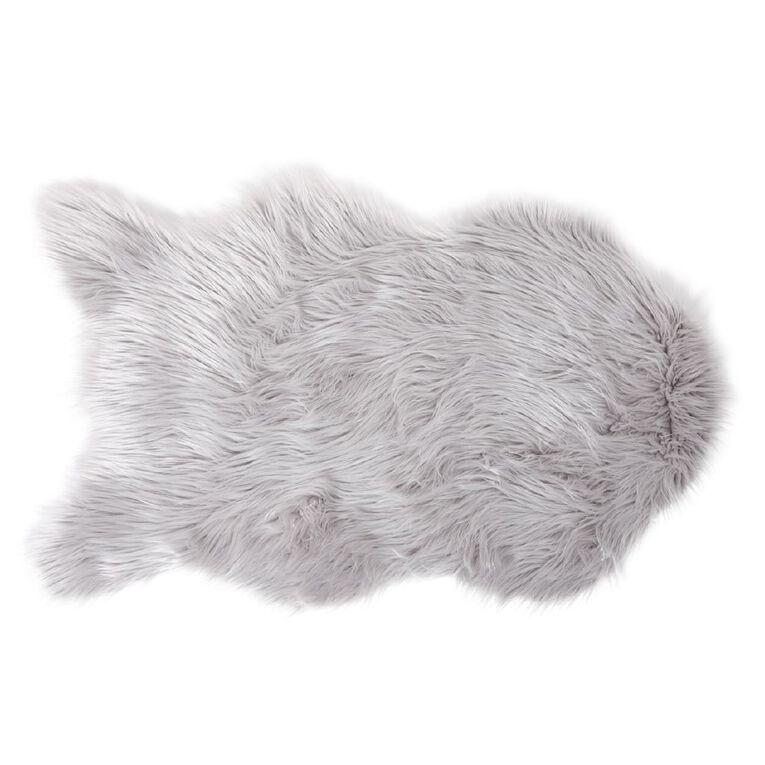 Living & Co Faux Sheep Skin Rug Silver 60cm x 100cm, Silver, hi-res