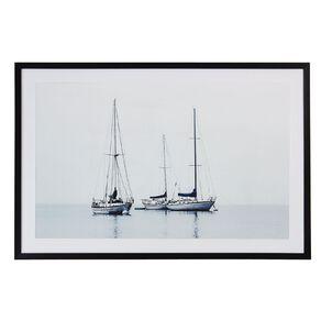 Living & Co Boats In The Mist Framed Print Black 60 x 90 x 2.3cm